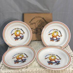New vintage 1994 Spagheti Os Corelle bowl set 4
